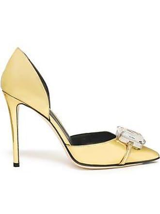 Marco De Vincenzo Marco De Vincenzo Woman Embellished Metallic Faux Leather Pumps Gold Size 35