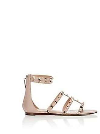 8070cdc54bc7 Valentino Womens Rockstud Leather Ankle-Strap Sandals - Nudeflesh Size 8
