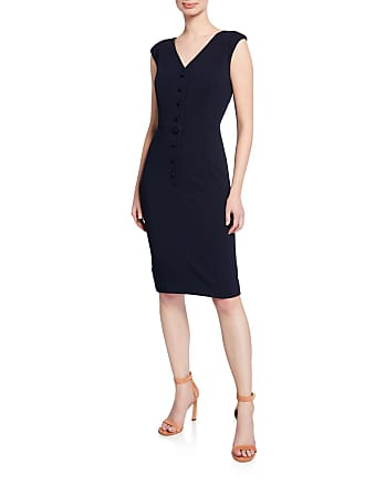 Iconic American Designer Button-Front V-Neck Sheath Dress