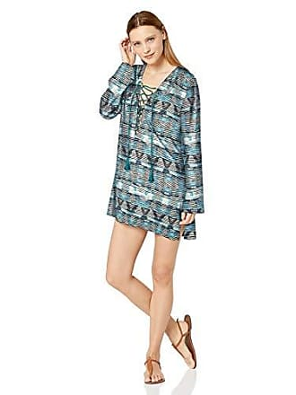 La Blanca Womens Lace Front Cover Up Tunic Dress, Blue, Extra Large