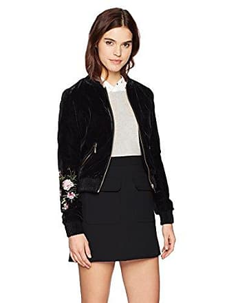 Yoki Womens Velour Bomber with Embroidered Sleeve, Black, XL