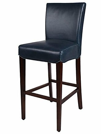 New Pacific Direct Milton Bonded Leather Bar Stool 29.5,Brown Legs,Vintage Blue,Fully Assembled
