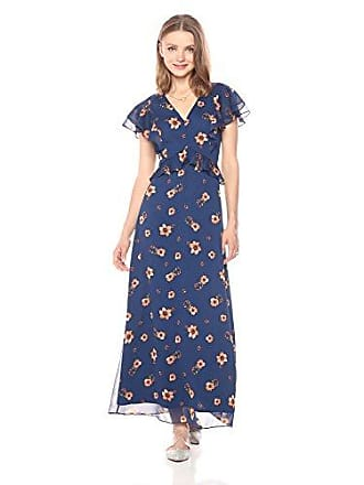 Paris Sunday Womens Ruffle Front Maxi Dress, Navy Cosmos Floral, Extra Large