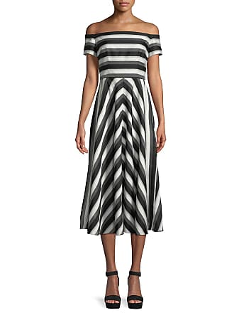 580068d628c Lela Rose Off-the-Shoulder Striped Fit-and-Flare Dress