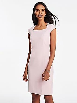 25f4be0ff62b ANN TAYLOR Scalloped Square Neck Cap Sheath Dress