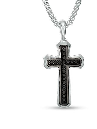 Zales Mens Shaquille ONeal Black Spinel Cross Pendant in Sterling Silver and Black Rhodium - 24