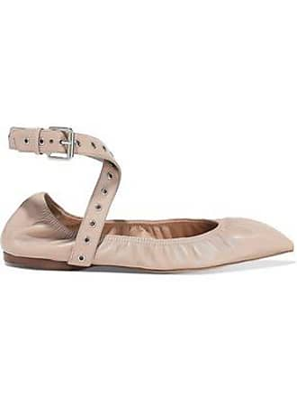 4c2994b5679 Valentino Valentino Garavani Woman Love Latch Eyelet-embellished Leather  Point-toe Flats Neutral Size