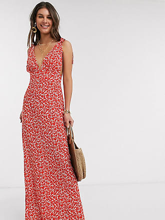Asos Tall ASOS DESIGN Tall plunge tie shoulder maxi dress in ditsy floral print-Multi
