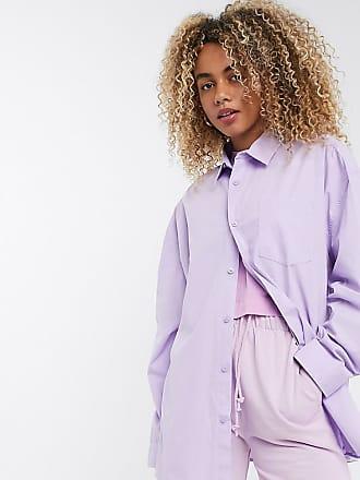 Collusion Unisex - Langärmliges Oversize-Hemd in Flieder-Violett