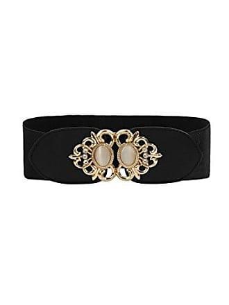 ffbcee67382a36 Allegra K Damen texturierte Perlen Metall Dekor elastische Taille Gürtel  Interlocking Schwarz