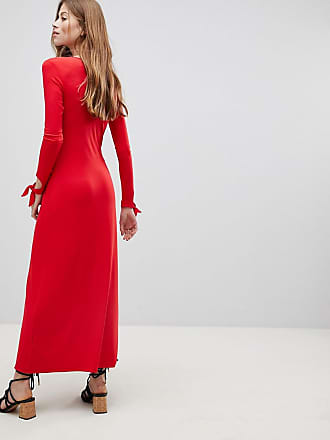 fb8fa4b39e1 Asos maxi tea dress with self covered buttons - Red