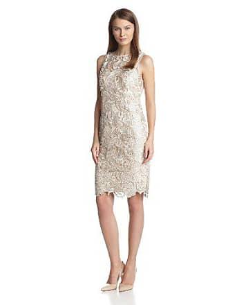 db408b9ada18 Adrianna Papell Illusion Neck Lace Dress-Vestito Donna Beige (Champagne) 36