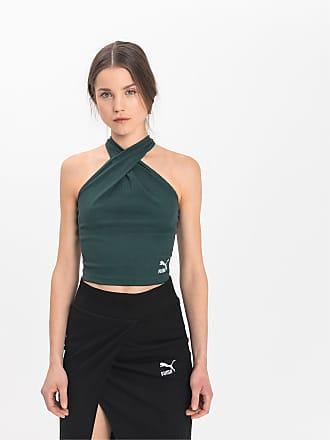 Puma Top Empower Wrap Neckholder pour Femme, Vert, Taille XS, Vêtements