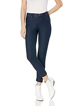 Hue Womens Plus Size Essential Denim Jean Skimmer Leggings, Assorted, Cuffed/Deep Indigo Wash 2X