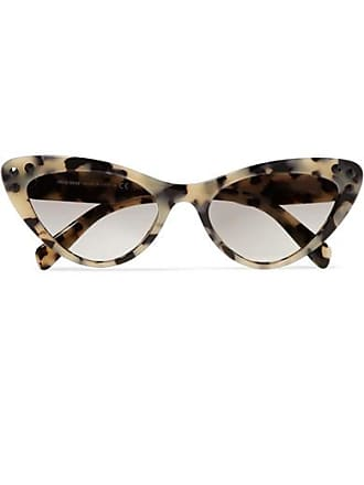 5f496694747 Miu Miu Cat-eye Crystal-embellished Tortoiseshell Acetate Sunglasses - Gray