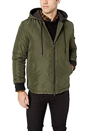 William Rast Mens Carvin Hooded Bomber Jacket, Duck Green, Large
