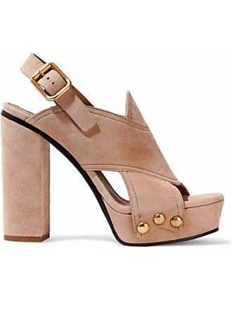 aee028a9568c Chloé Chloé Woman Cutout Suede Platform Sandals Beige Size 39.5