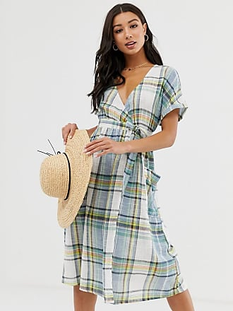 Influence wrap midi dress with tie waist in blue check - Blue
