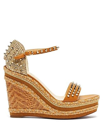 8724411bd7 Christian Louboutin Madmonica 120 Studded Wedge Sandals - Womens - Nude Gold