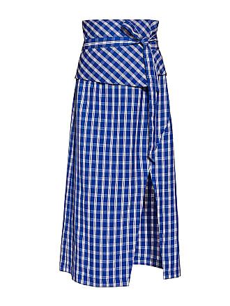 Sea New York Obi Belted Gingham Midi Pencil Skirt Blue Check