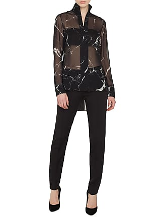 826ae00ace0b2 Akris Long-Sleeve Zip-Front Marble Tiles Print Silk Crepe Tunic Blouse