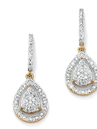 PalmBeach Jewelry 1/8 TCW Round Diamond 18k Gold over Sterling Silver Pear-Shaped Drop Earrings