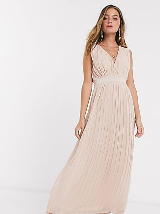 Y.A.S Bridal pleated maxi dress with deep v neck in pink-Beige