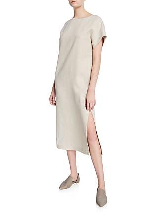 0d4365a1 Lafayette 148 New York Emiline Striped Short-Sleeve Linen Dress w/ Slit