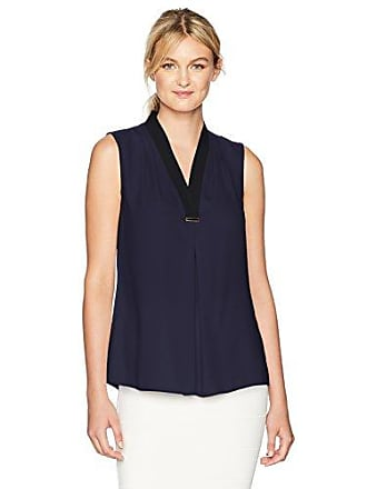 T Tahari Womens Rosalyn Blouse, True Navy, S