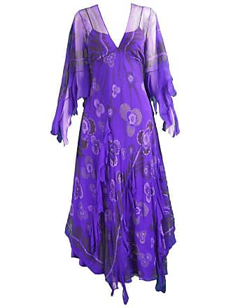 9872cf4a46fc2 Zandra Rhodes. Purple Floral Silk Chiffon Dress With ...