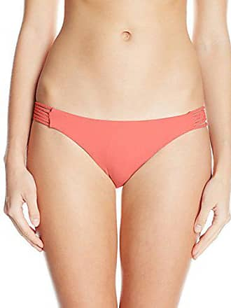 Quintsoul Womens Braided Low-Rise Bikini Bottom with Cinching, Coral, Small