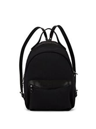IL BISONTE Mens Canvas & Leather Zip-Around Backpack - Black
