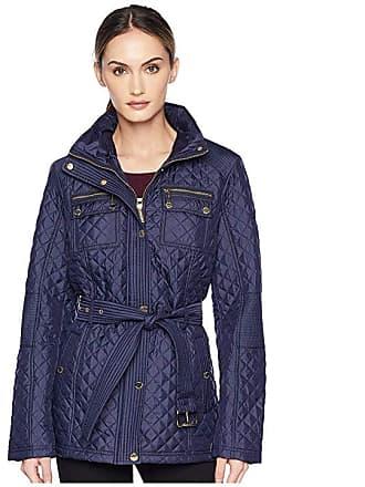 8fc573d470f2 Michael Kors Belted Short Snap Front Quilt M423454GZ (Navy) Womens Coat