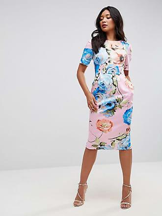 032dac52c61 Asos ASOS - Wiggle - Halblanges Kleid mit Blumenmuster in Rosa - Mehrfarbig