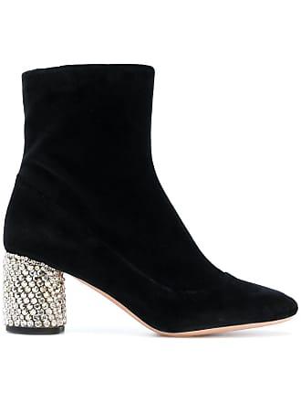 Rochas Ankle boot de veludo com aplicação - Preto