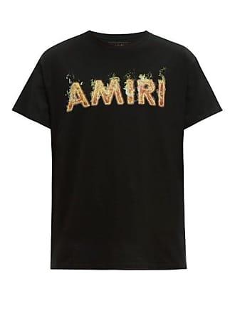 790765a7 Amiri Flame Logo Print Cotton Jersey T Shirt - Mens - Black Red