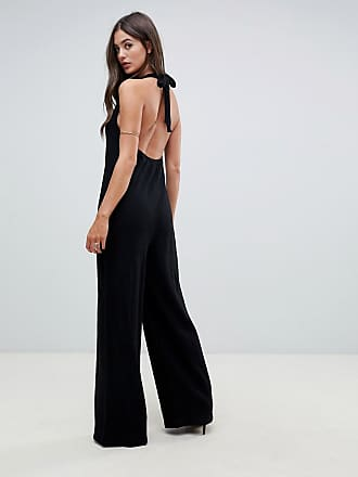 26d73722f6a Asos Tall ASOS DESIGN Tall halter neck jumpsuit with plunge front - Black