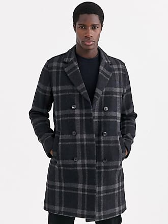 Selected double breasted check wool peacoat in grey