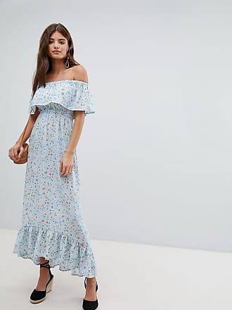 Missguided Vestito lungo stile Bardot a fiori - Blu baa1bb08a54