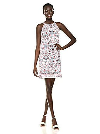 Max Studio Womens Border Crisscross Printed Matte Jersey Halter Dress, Cream/Blue/Red Viney Nouveau Flower, Extra Large