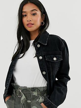 veste en jean bicolore bleu noir femme