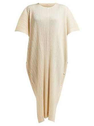 Pleats Please Issey Miyake Oversized Plissé Pleated Woven Kaftan - Womens - Ivory