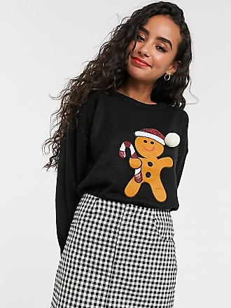 Brave Soul Petite Kersttrui met lovertjes-Zwart