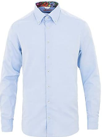 85c83345 Stenströms Fitted Body Contrast Button Down Shirt Blue