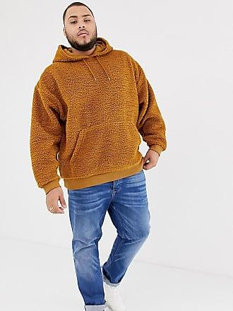 Asos Plus oversized hoodie in brown borg - Brown