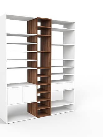 MYCS Bücherregal Weiß - Modernes Regal für Bücher: Schubladen in Weiß & Türen in Weiß - 190 x 233 x 47 cm, konfigurierbar