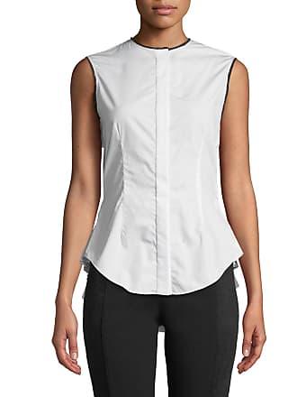 Yigal AzrouËl Pleated-Back Button-Front Sleeveless Poplin Top