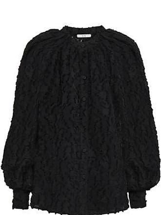 Co Co Woman Gathered Fil Coupé Chiffon Blouse Black Size XS