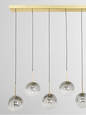 MADE.COM Onyx LED-Pendelleuchte, Glas und Messing in Grau