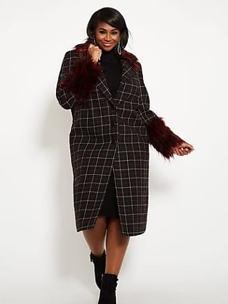 b7681dc966d Ashley Stewart Plus Size Windowpane Coat With Faux Fur Trim